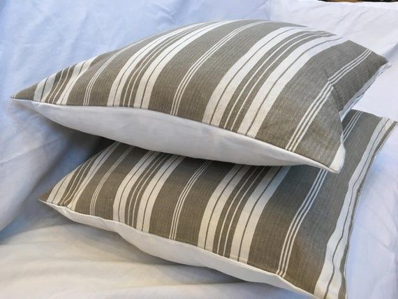 Photo of AUTHENTIC 1940s FRENCH TICKING Pillow, Fabric Repurposed Upcycled Decorative Pil…