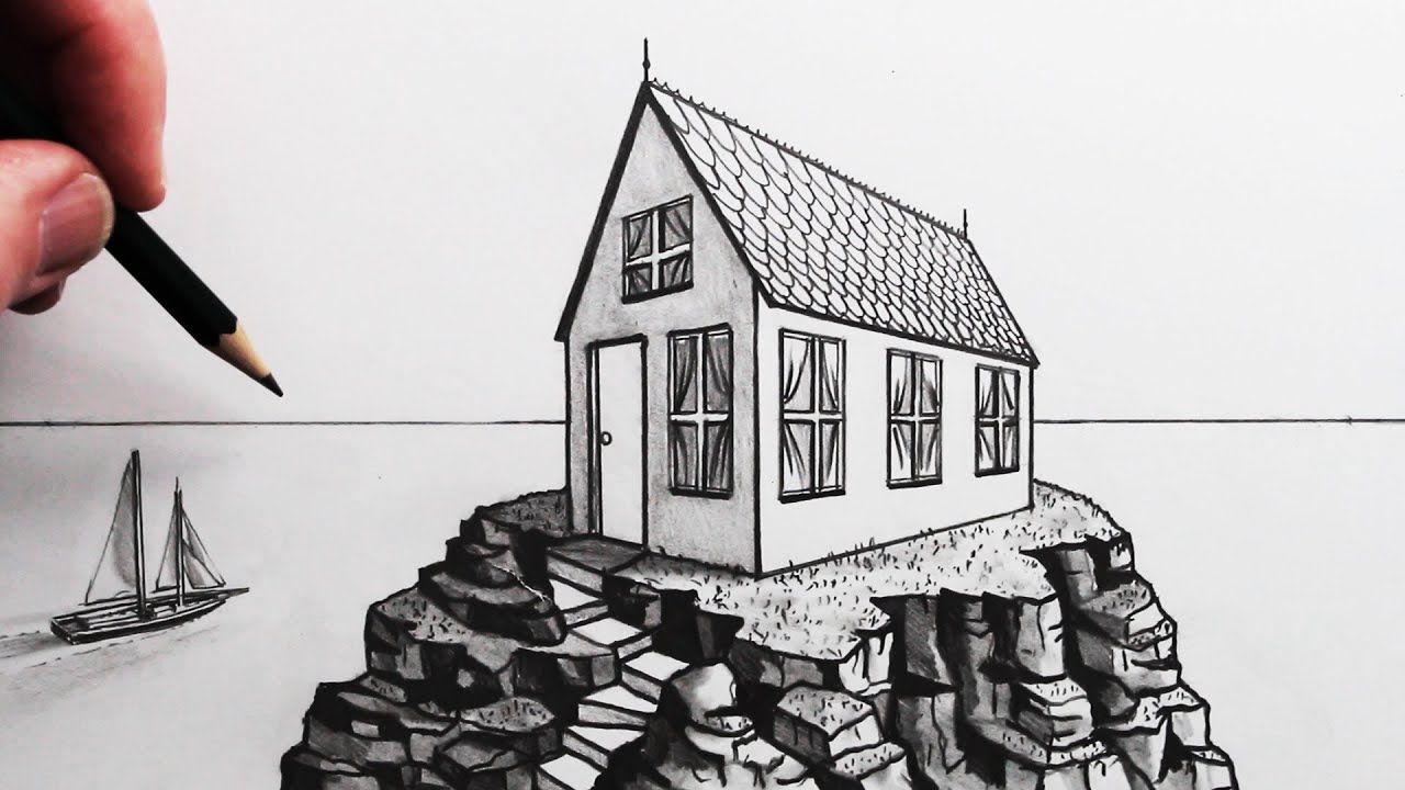 How To Draw An Easy House In 2 Point Perspective Pencil Drawing Youtube In 2020 2 Point Perspective Drawing Online Drawing Course Point Perspective