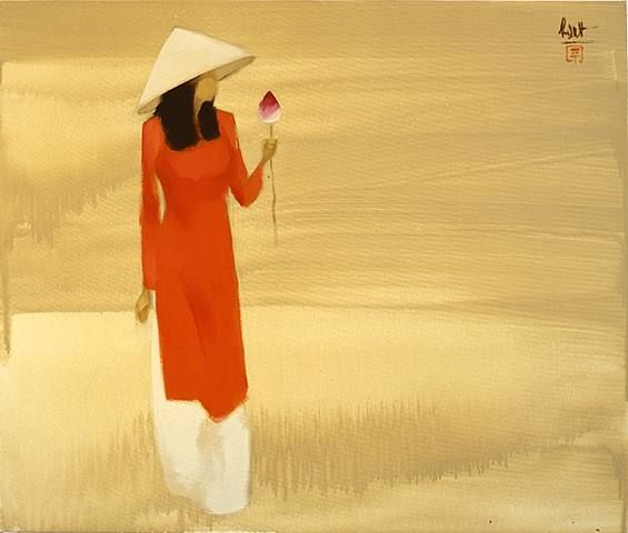 Lotus Viewing Nguyen Thanh Binh Inspiration Art Geisha Art