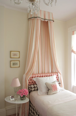 Soft blush bed drapes, love me some pink and gray.