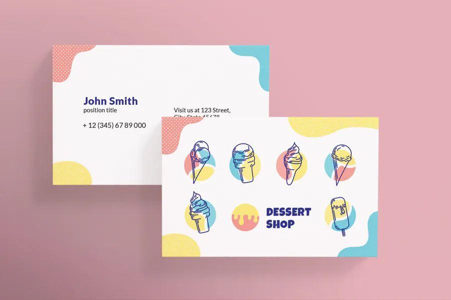 Ice Cream Shop Business Card Template Business Card Template Design Business Card Graphic Business Card Template