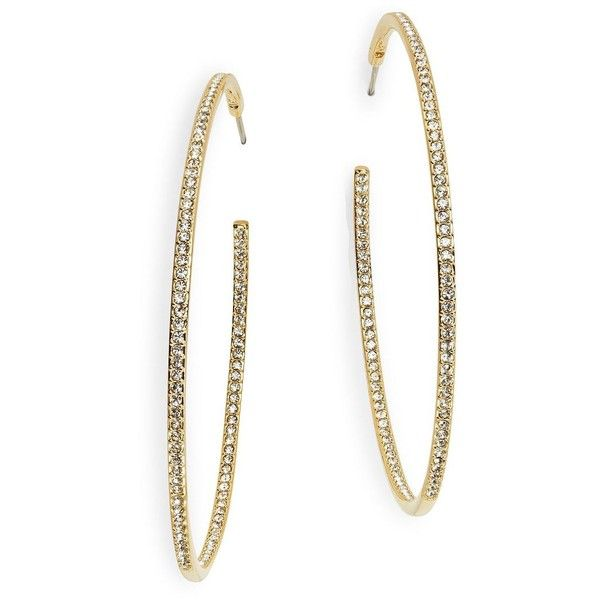 Nadri Large Goldtone Pave Hoops 2 In 60 Liked On Polyvore Featuring Jewelry Earrings Gold Hoop Sparkly Tone