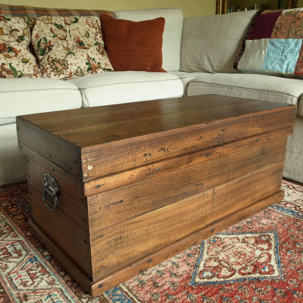 Antique Wooden Chest Coffee Table Storage Trunk Vintage Tool Chest
