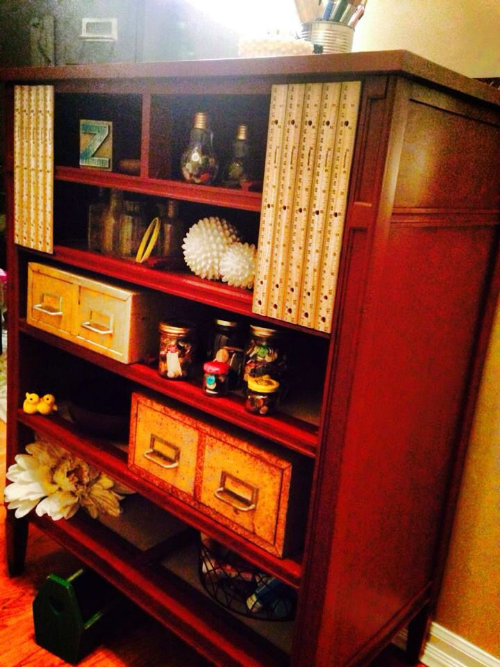 My nifty little shelving made from an old dresser.