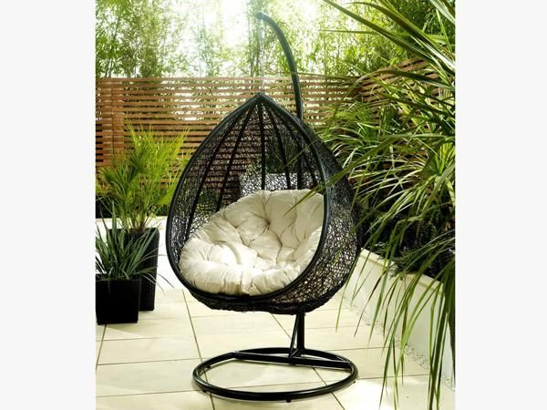 Details About RATTAN GARDEN FURNITURE OUTDOOR HANGING TEARDROP CHAIR PATIO  RETRO PATIO