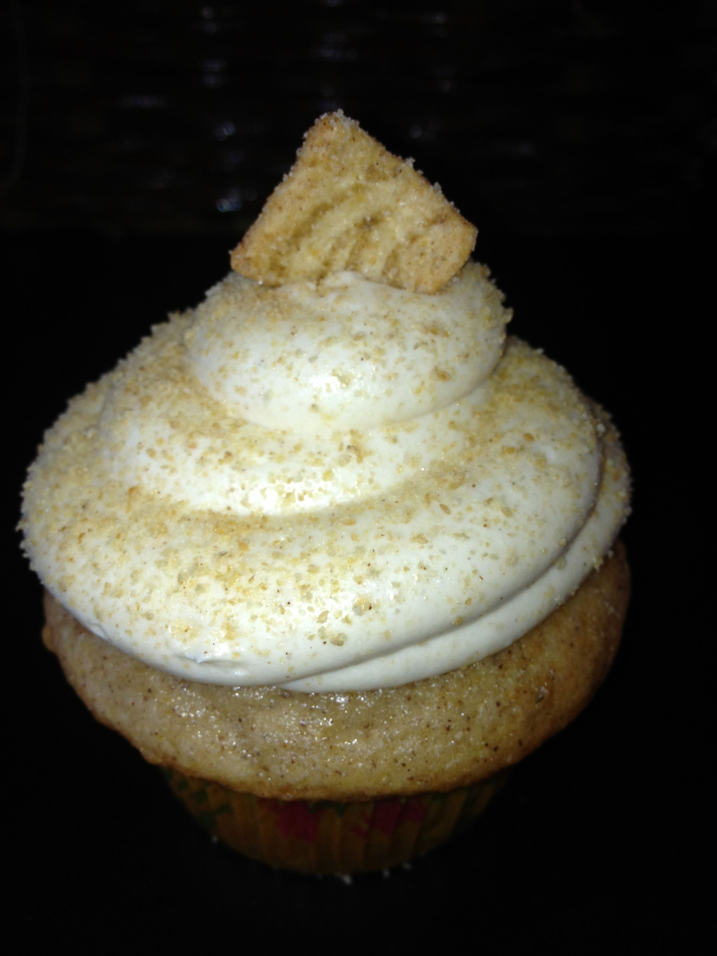 Cinnamon toast crunch cinnamon cake with a cream cheese