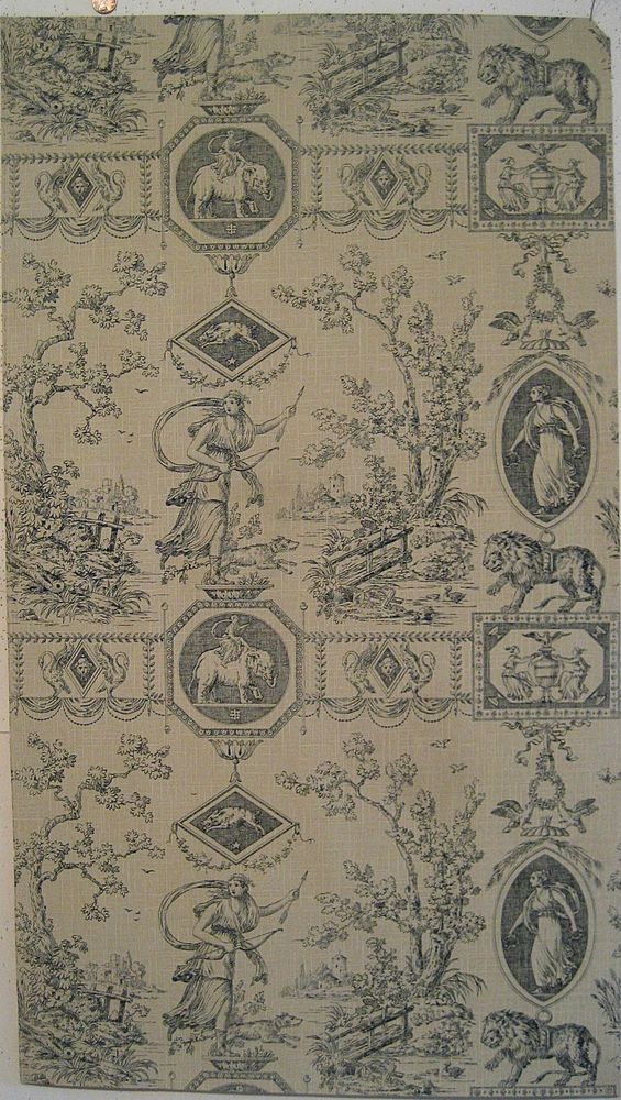 Beautiful Antique 19th C. French Zuber Neoclassic Toile