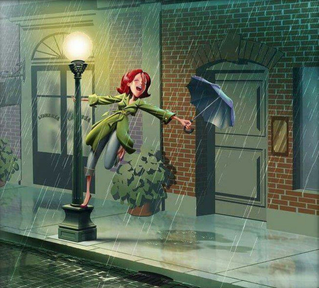 Singing In The Rain Arte De Paraguas Cantando Bajo La Lluvia Lluvia Dibujos