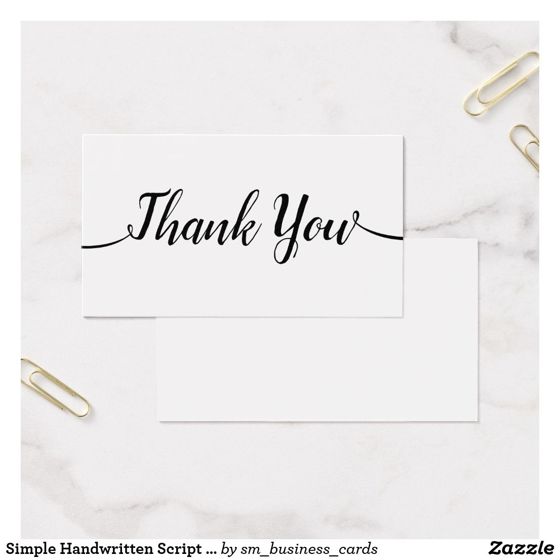 Simple Handwritten Script Calligraphy Thank You Business Card ...