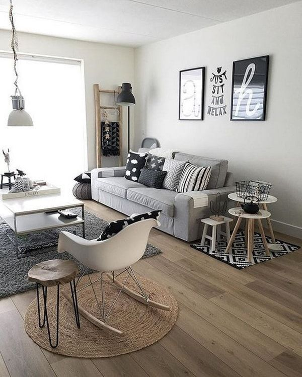 Adorable Small Apartment Living Room Decoration Ideas On A Budget. Gris para  decorar salas pequeñas. Salón con estilo escandinavo. livings pequeños.
