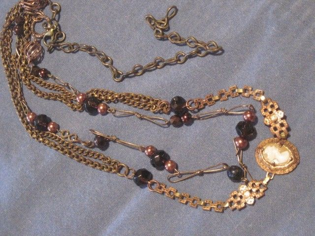 Reworked Vintage Copper Cameo Two Strand Necklace with Dark Red Crystals by Lisalian on Etsy