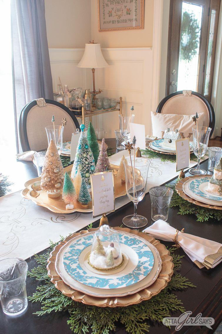 Best Elegant Gold Aqua Christmas Dining Room Decor 400 x 300