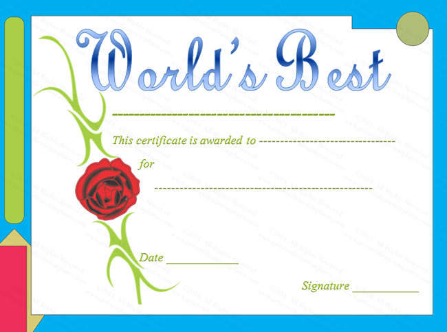Red Rose Themed World S Best Award Certificate Template