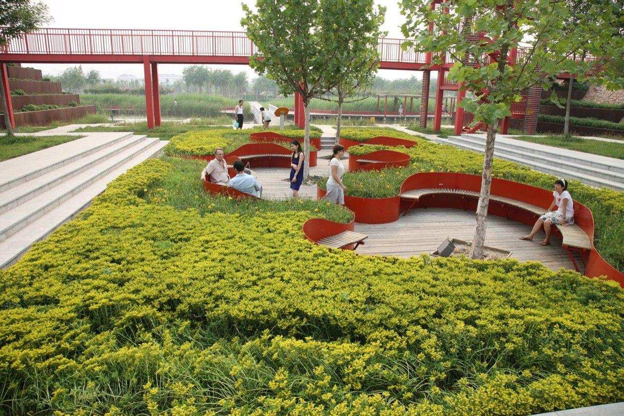 Gallery Of Shanghai Houtan Park Turenscape 1 Park Landscape Industrial Park Parking Design