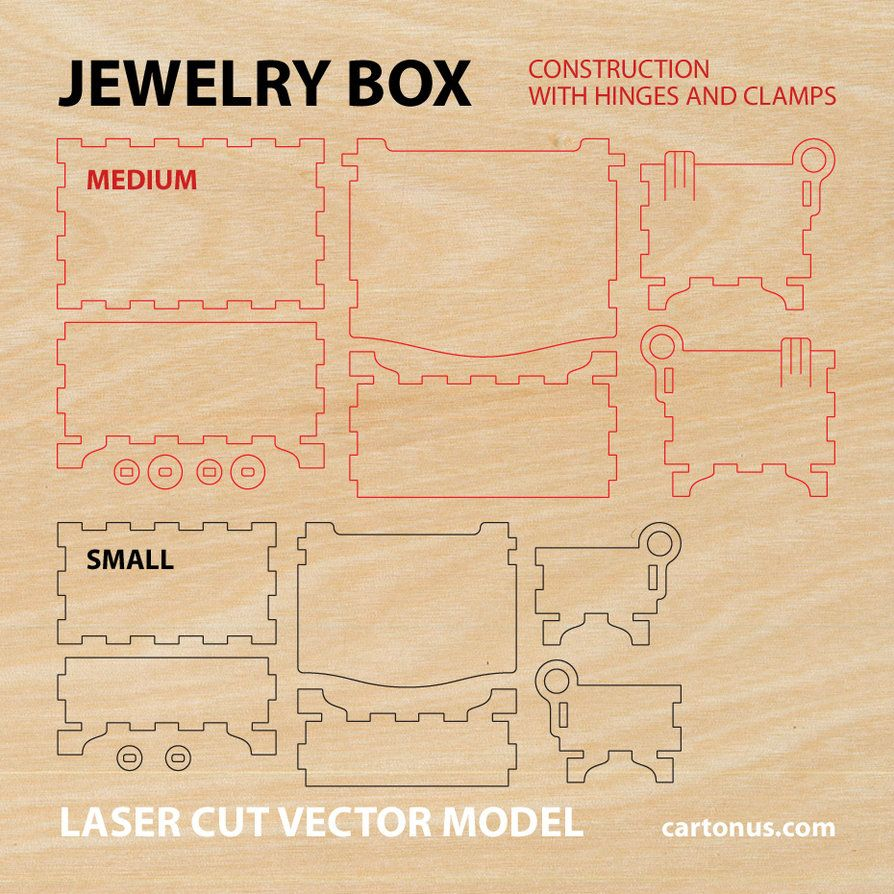 Wooden jewelry box with hinges and clamps Vector plan/model for ... for laser cut box plans  186ref