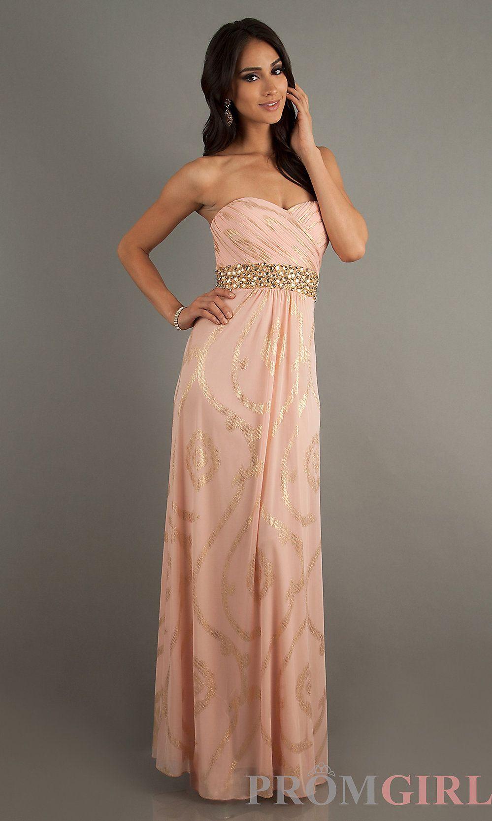 Floor length strapless sweetheart print dress peachgold proomm