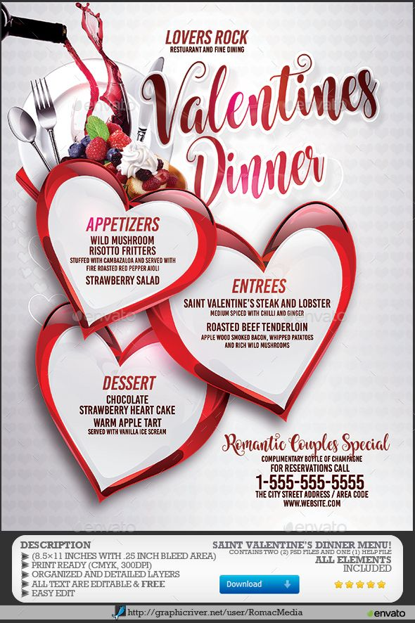 Valentine S Dinner Menu Flyer Templates Menu Dinner Menu Event