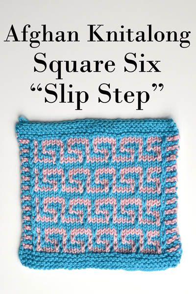 Afghan Knitalong Square 6 - Slip Step Pattern | Knit Stitch & Charts ...