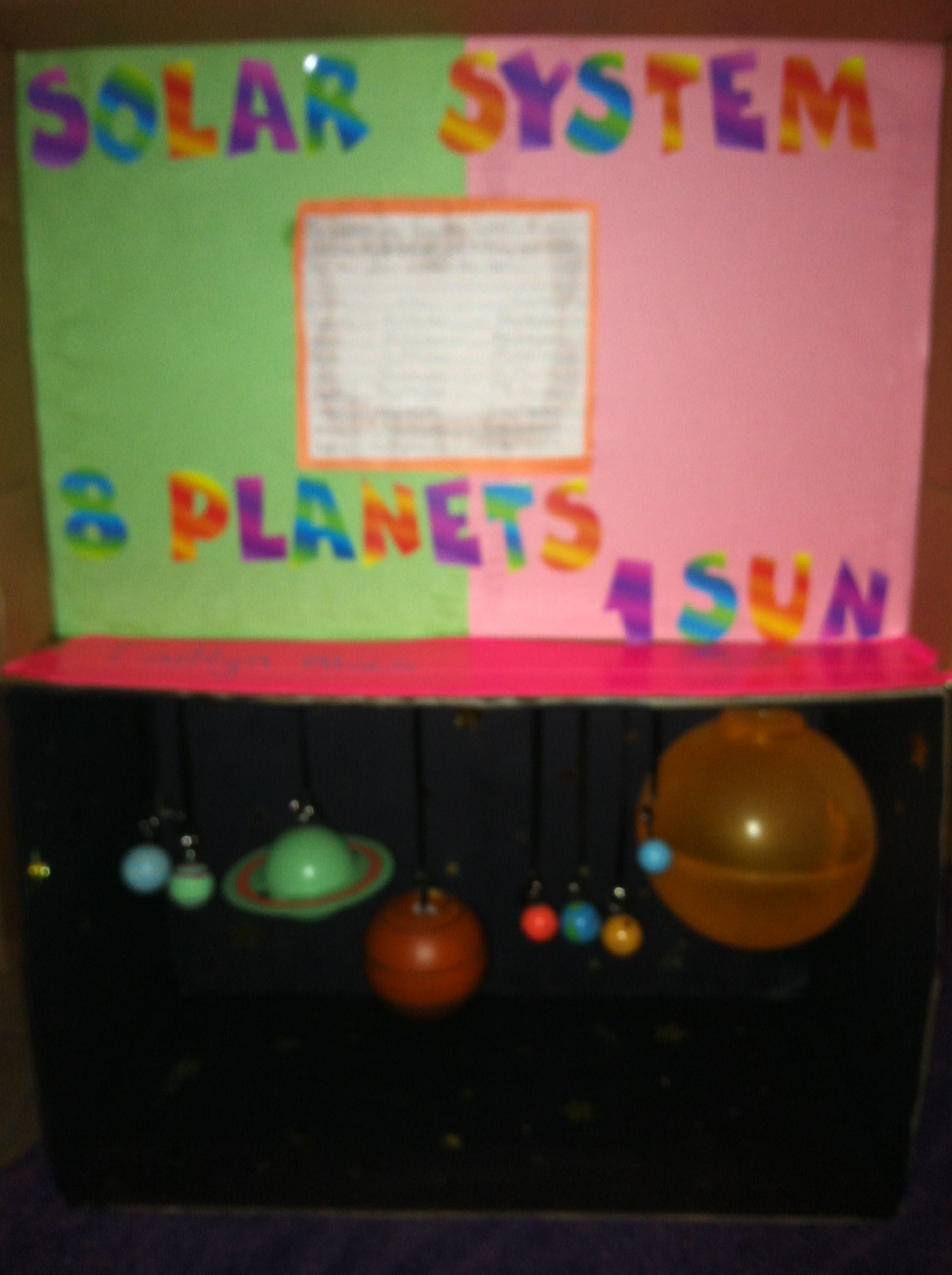 Solar System 4th Grade Science Project Used A Paper Box