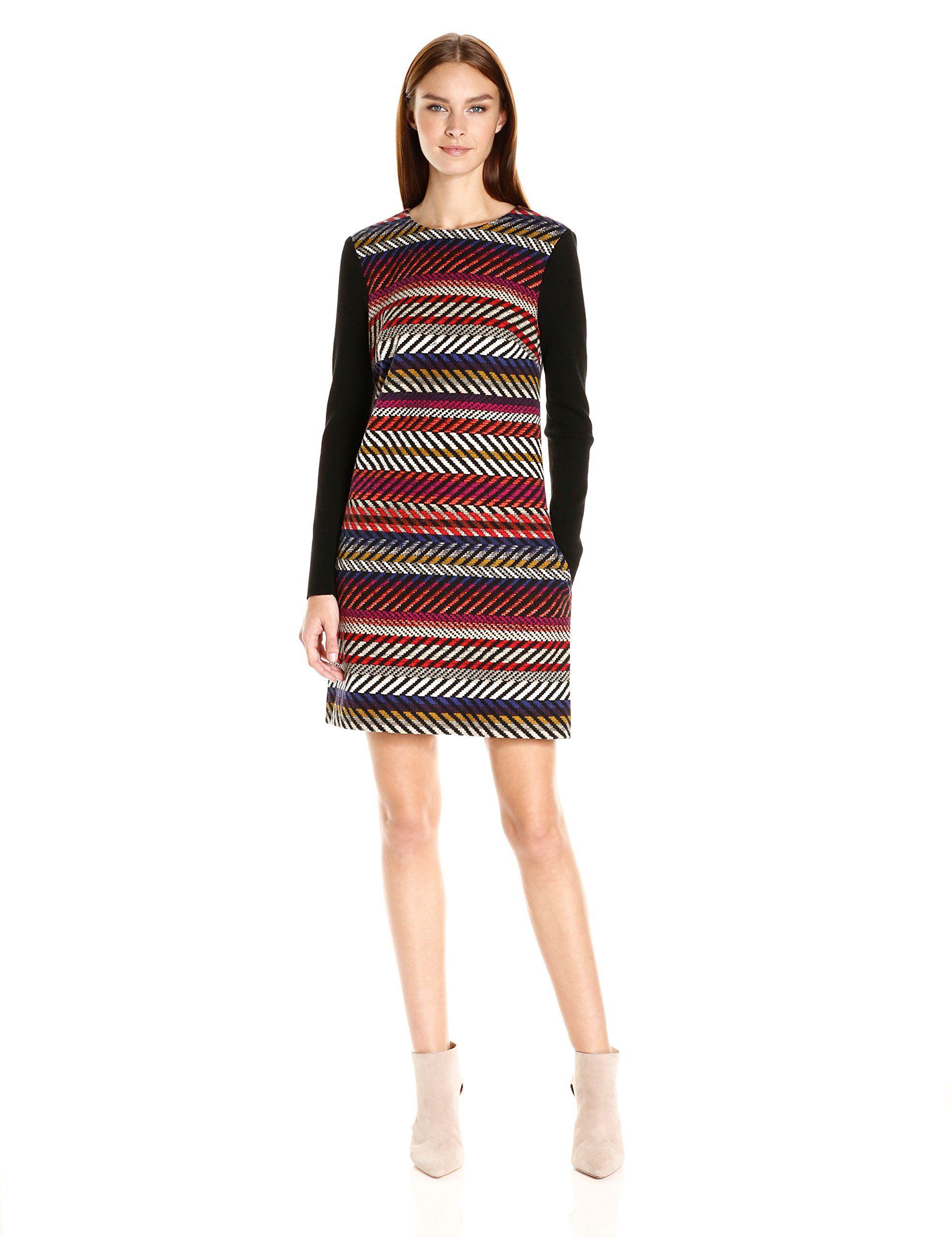 Trina turk womenus chapin kingscote stripe long sleeve dress multi