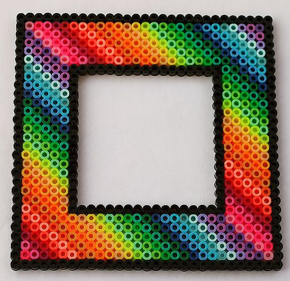 Rainbow Picture Frame Fridge Magnet by LunasRealm | Perler Beads ...