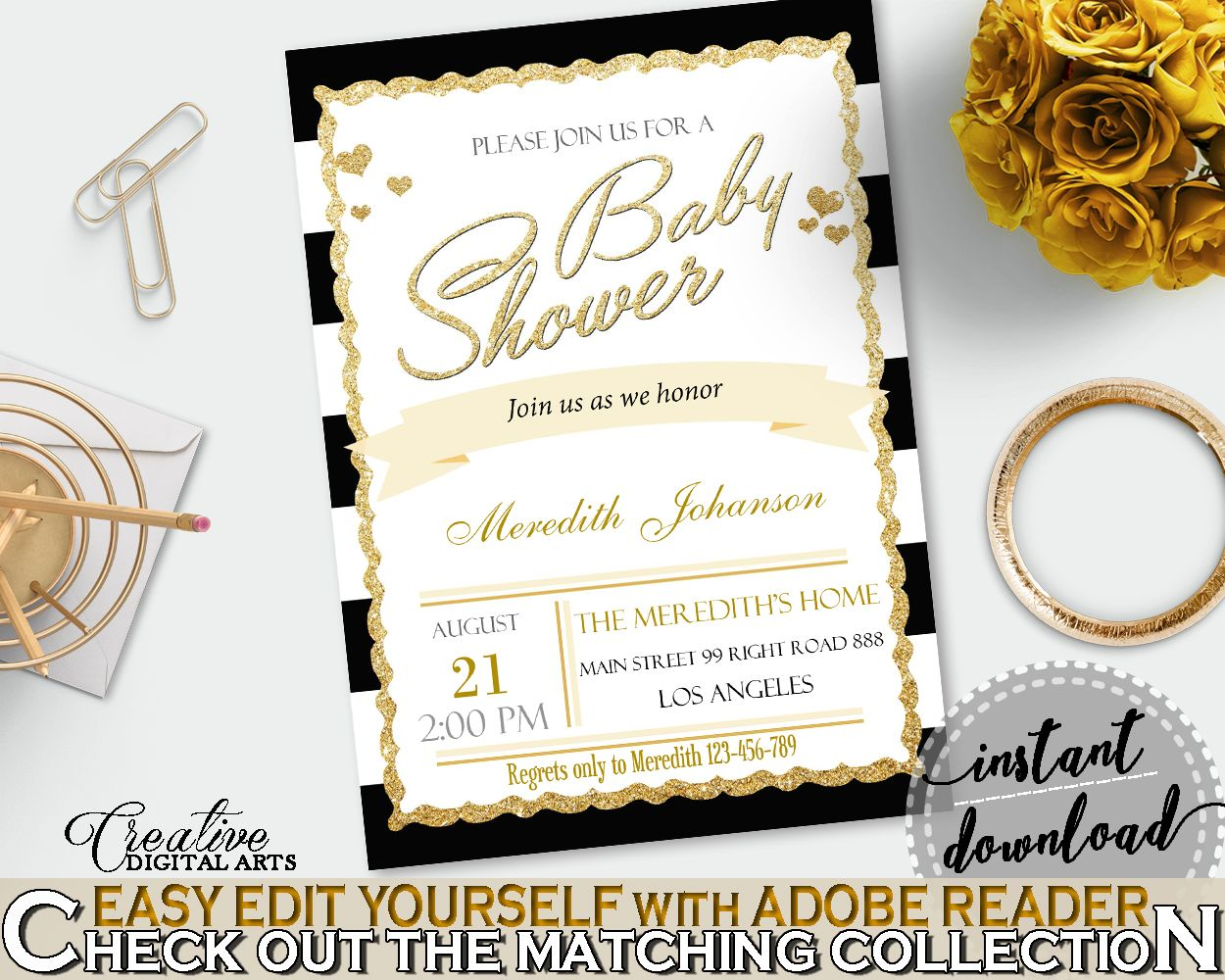 Baby Shower INVITATION editable Pdf with black white strips color ...