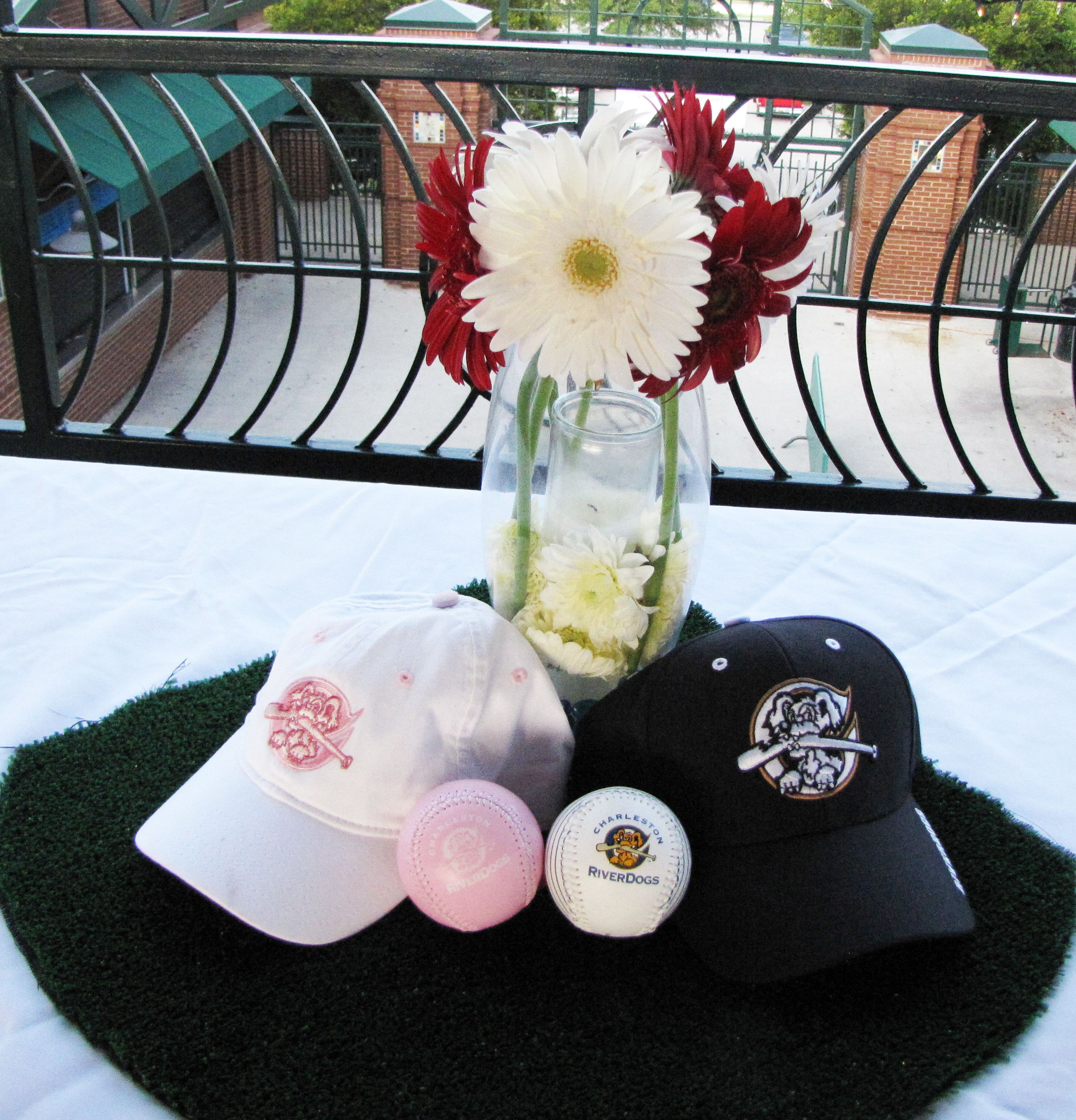 His and hers riverdogs caps and baseballs centerpieces by chelsea