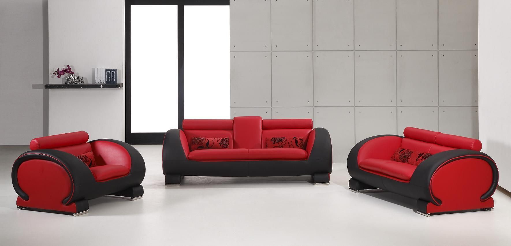 Incredible 2811 Black And Red Bonded Leather Sofa Set My Style Creativecarmelina Interior Chair Design Creativecarmelinacom