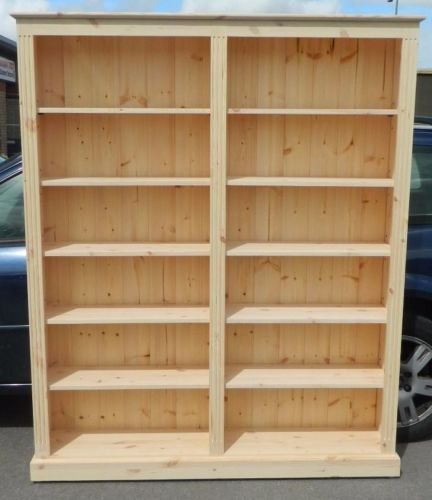 Solid Pine Bookcase 6ft Tall X 5ft Wide Hand Made In Bare