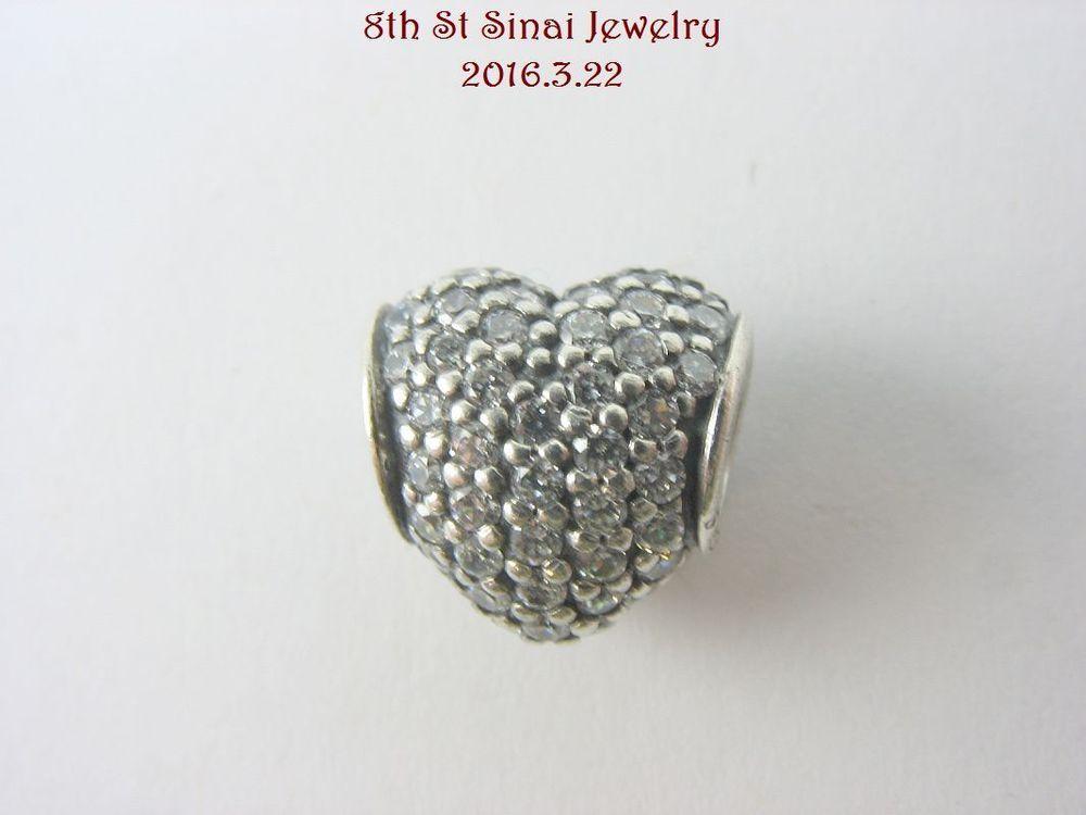 Pandora Bead Charm Sterling Silver 925 Pavé Heart CLear CZ Charm 791052CZ #Pandora #European