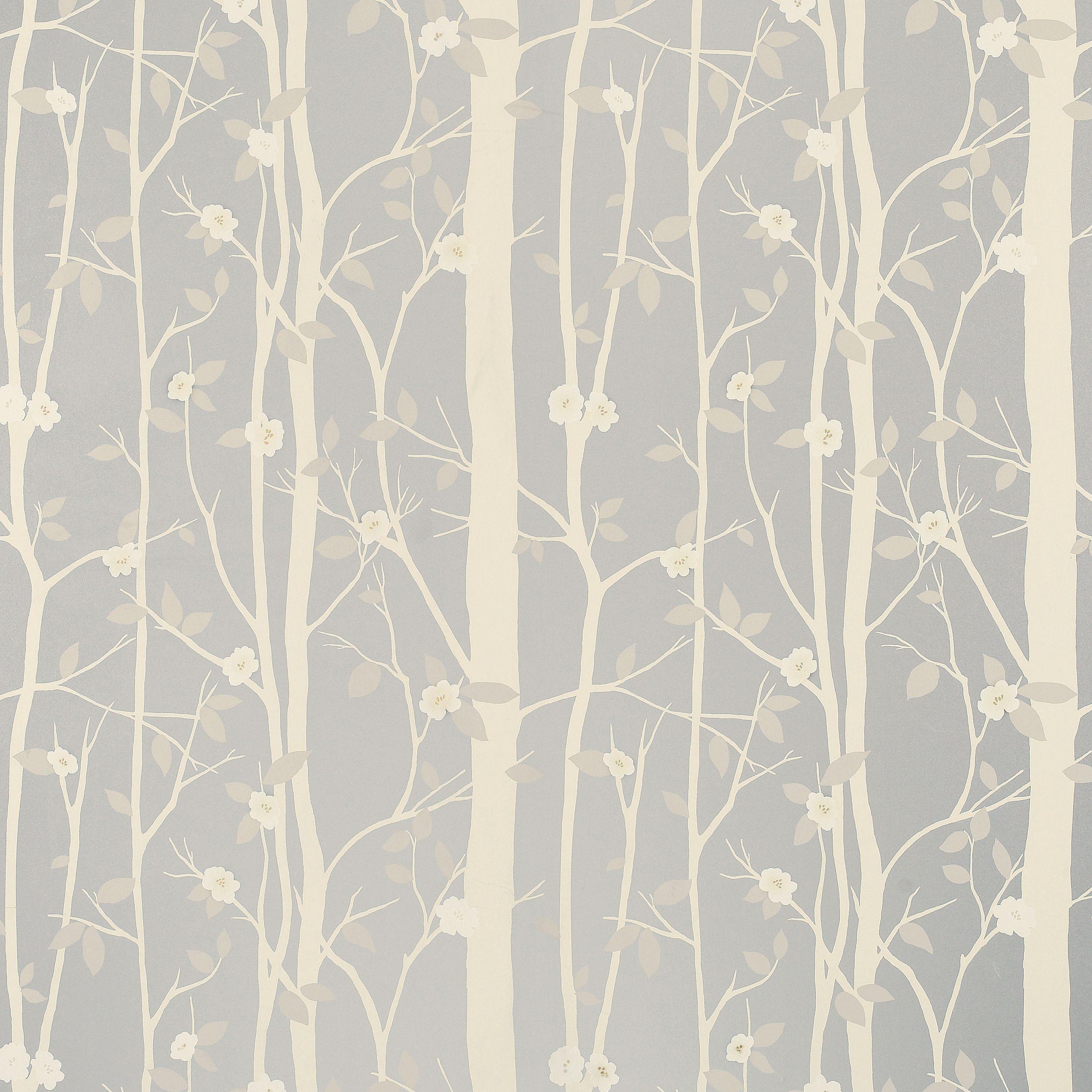 Laura Ashley Kitchen Wallpaper: Cottonwood Leaf Metallic Wallpaper, Silver