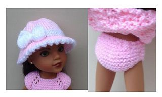 Hat & panties for 14inch doll
