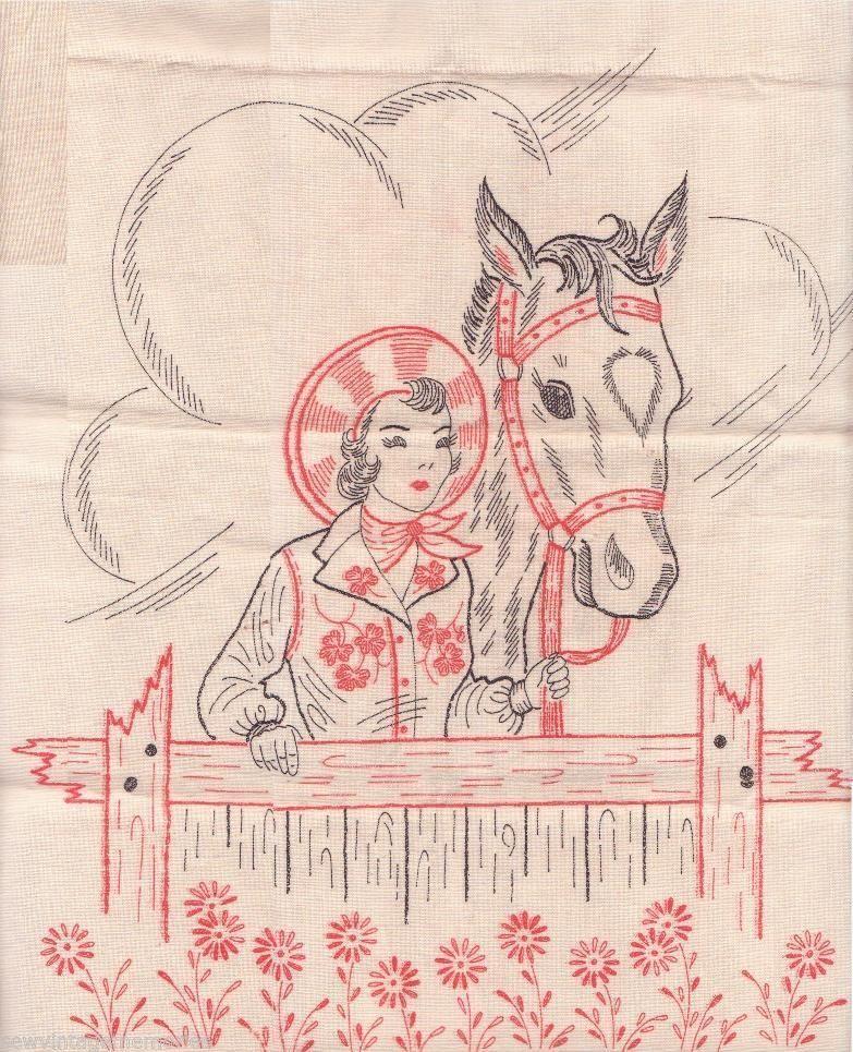 Vintage 1953 Vogart Cowgirl Horse Stamped Embroidery Dresser Scarf or Pillows #Vogart