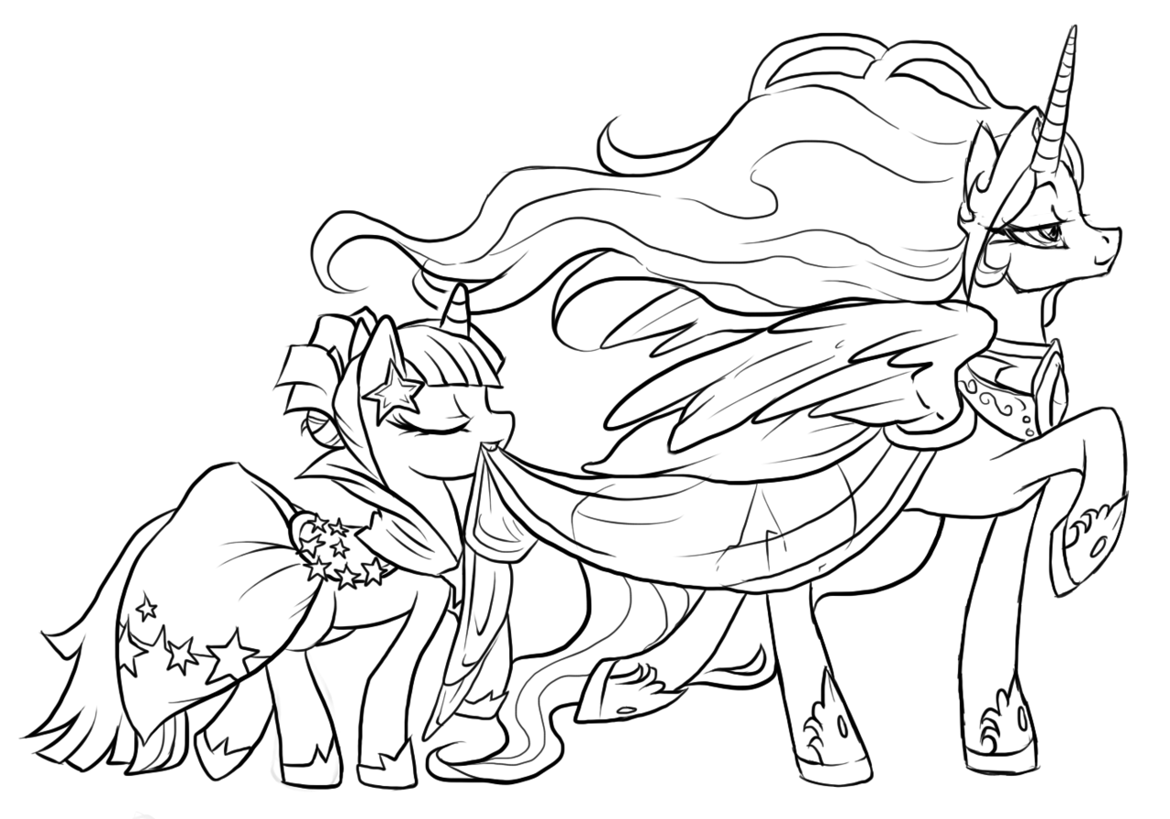 My Little Pony Valentine Coloring Pages : My little pony lineart google search zentangle prints