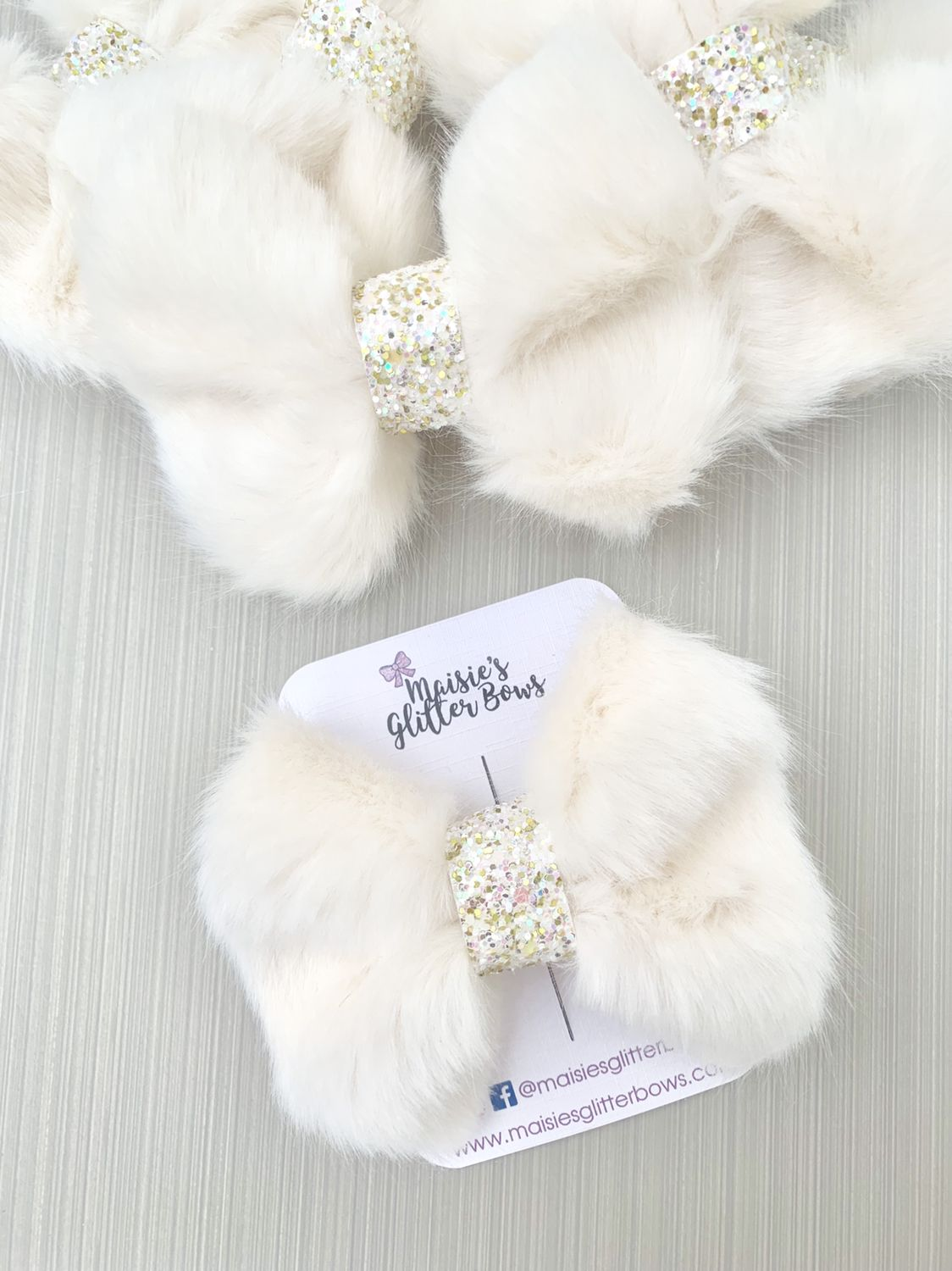Girls Soft Faux Fur Crowned Bunny Ears Ballerina Slippers in 4 UK Sizes