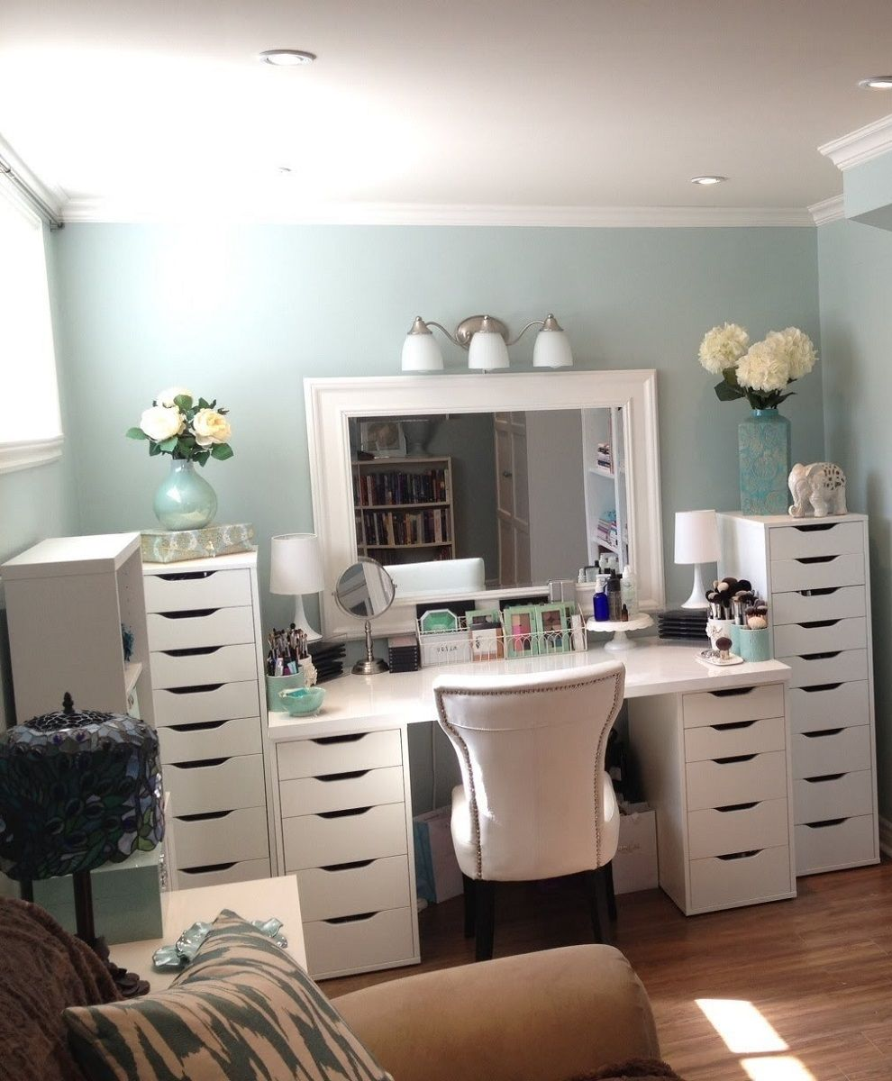 Makeup Organization Eas With Large Drawer And White Color Table