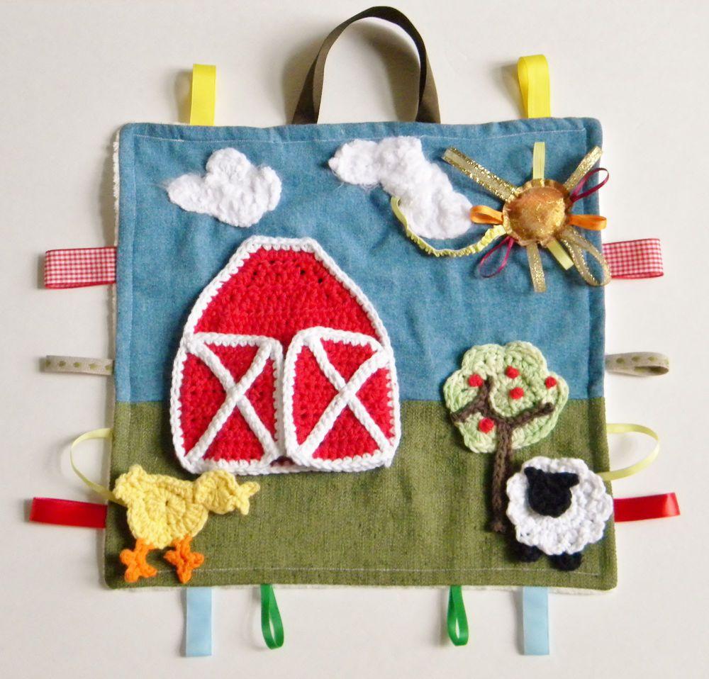 Farm Handmade Baby Sensory Ribbon, Lovey, Tag Security Blanket + Burpie McDonald