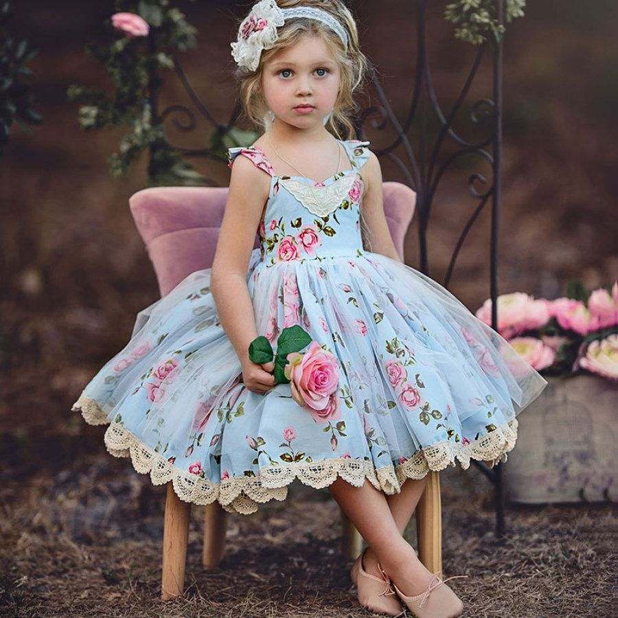 Flower print lace tulle backless dress popreal sewing ideas