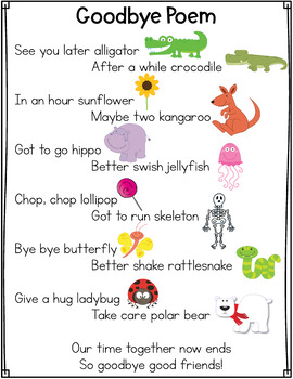 Goodbye Poem In 2020 Goodbye Poem Goodbye Songs For Preschool Preschool Poems