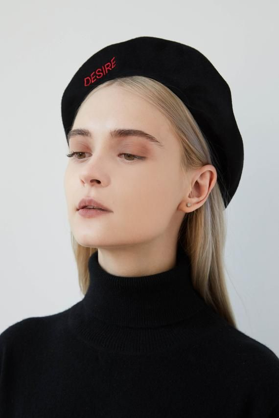 AIDA Cashmere beret with embroidery, berets for women, women's beret hat,  black wool beret, embroidery beret, r…   Beret, Hair stylies, Beauty tips  for glowing skin