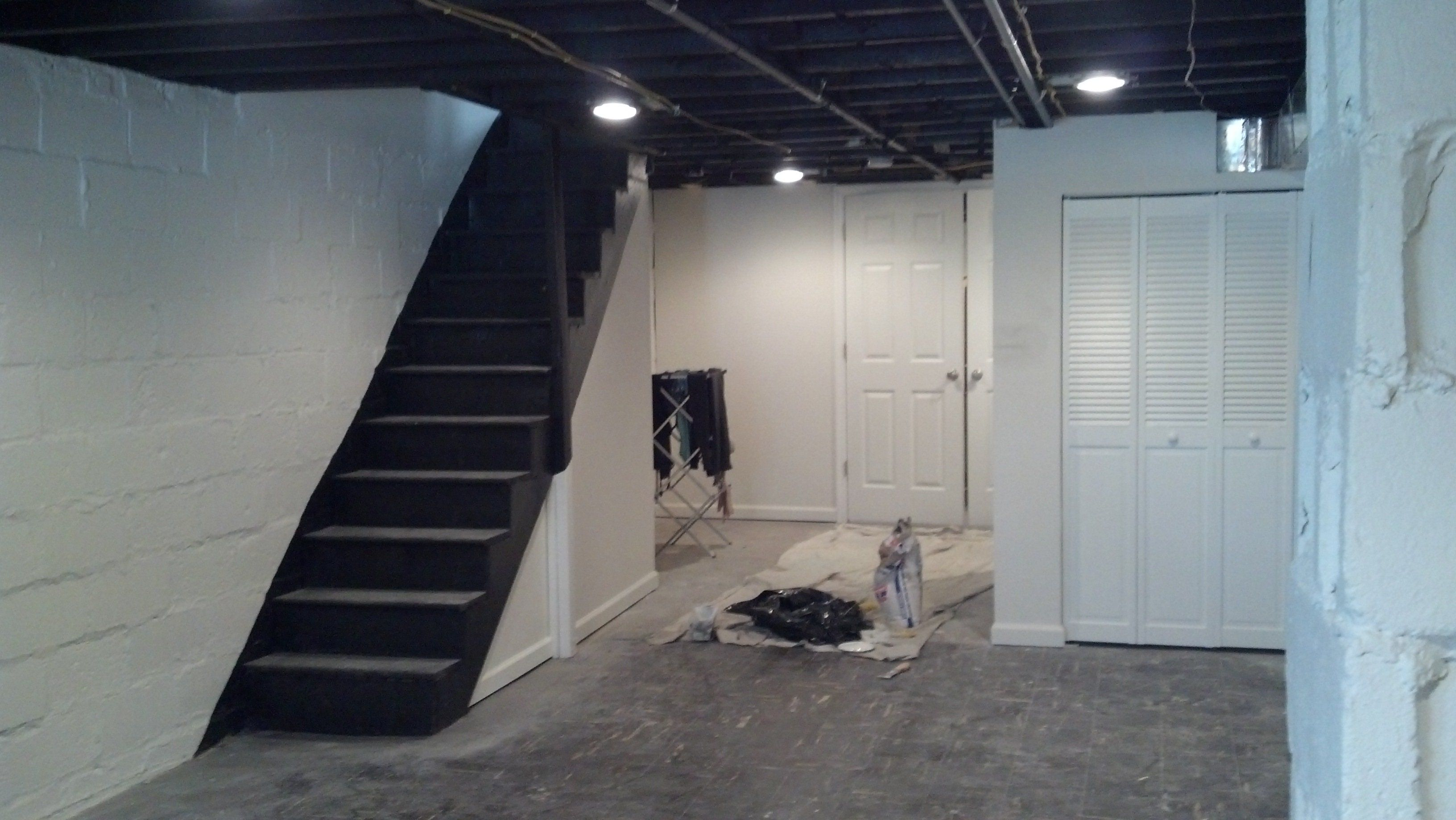 Decoration makeover basement painted with white wall - Cost to paint interior walls and ceilings ...