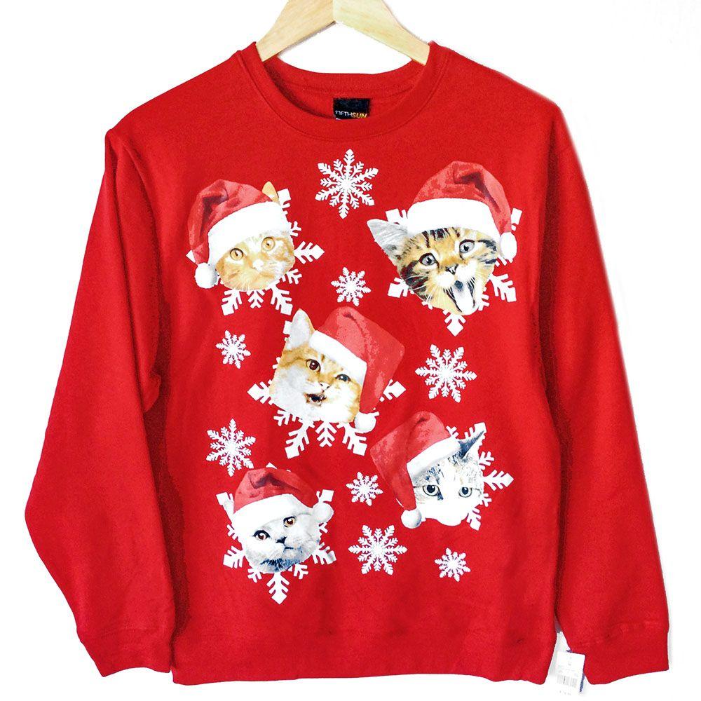 Kitties in Santa Hats Crazy Cat Dude Ugly Christmas Sweatshirt ...