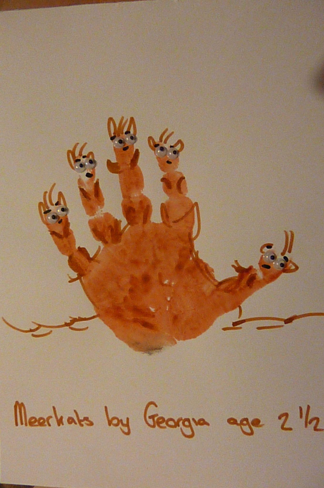 meerkat handprintgeorgia age 25  kids art projects