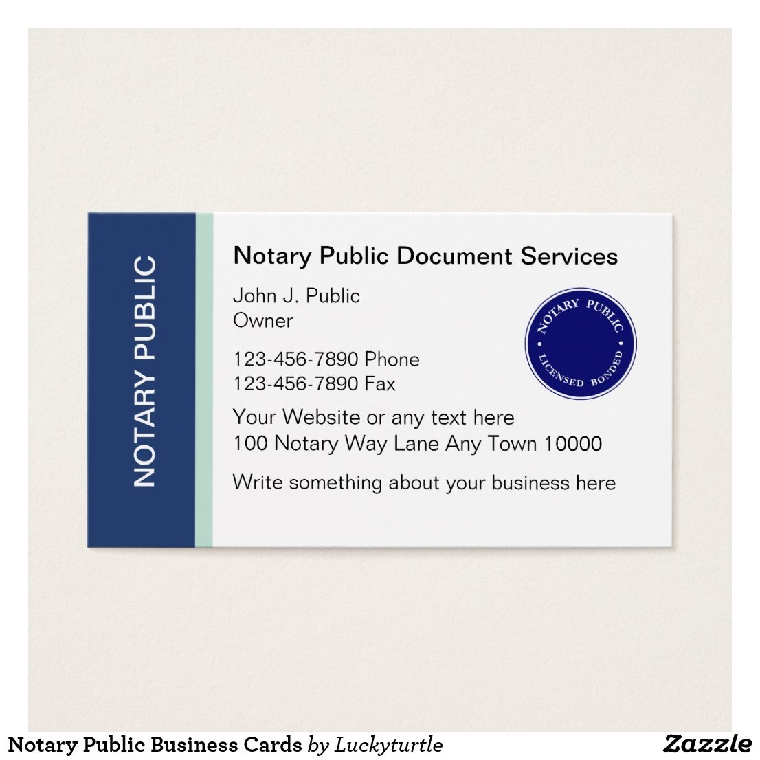 Pin by Business Cards on Notary Public Business Cards | Pinterest ...