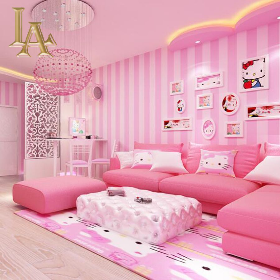 Aconchegante Sala De Crian As Azul Rosa Listrado Desenhos Papel De  -> Parede Sala Listrada