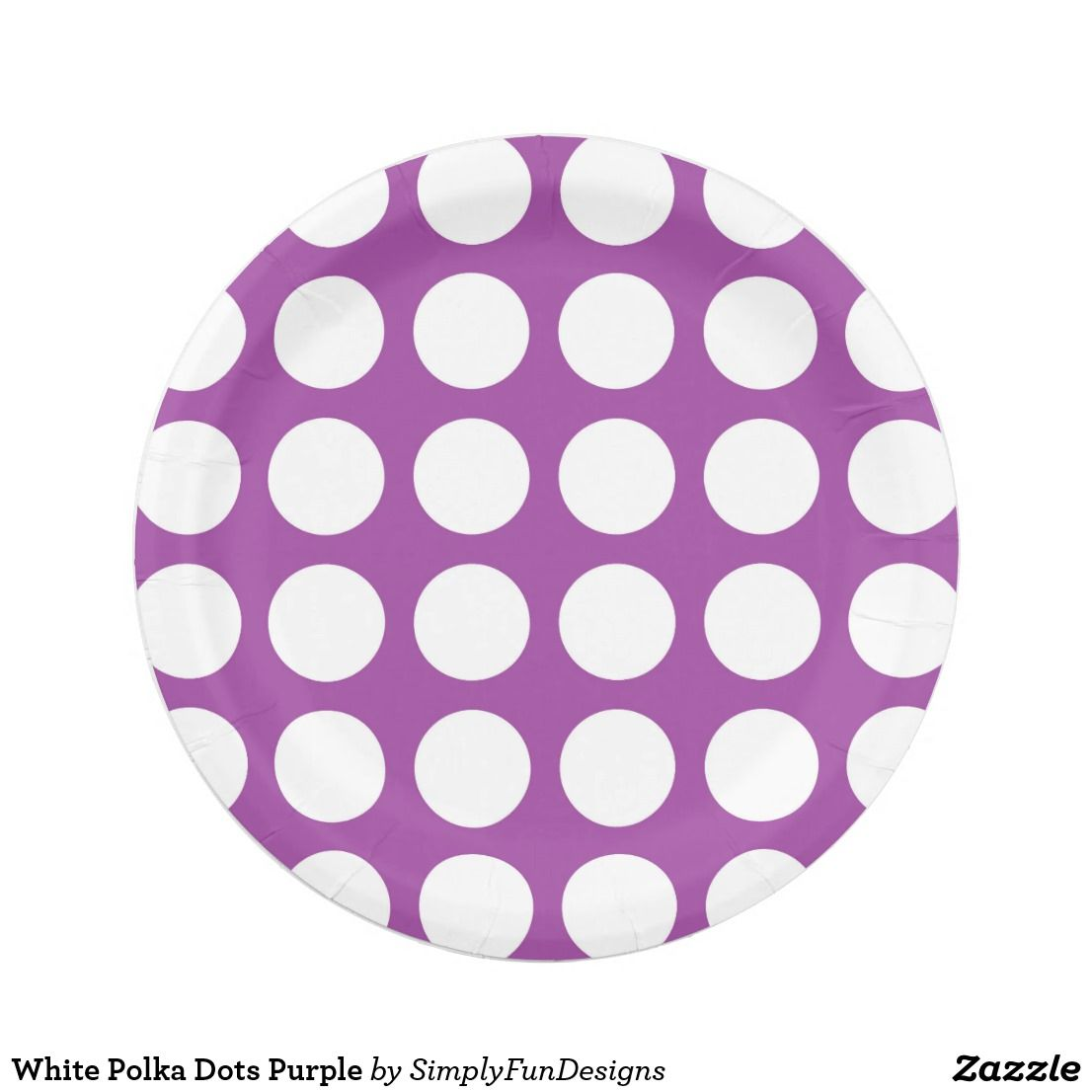 White Polka Dots Purple Paper Plate · Yellow PaperPink PaperBrown ...  sc 1 st  Pinterest & White Polka Dots Purple Paper Plate | Zazzle products designed by me ...