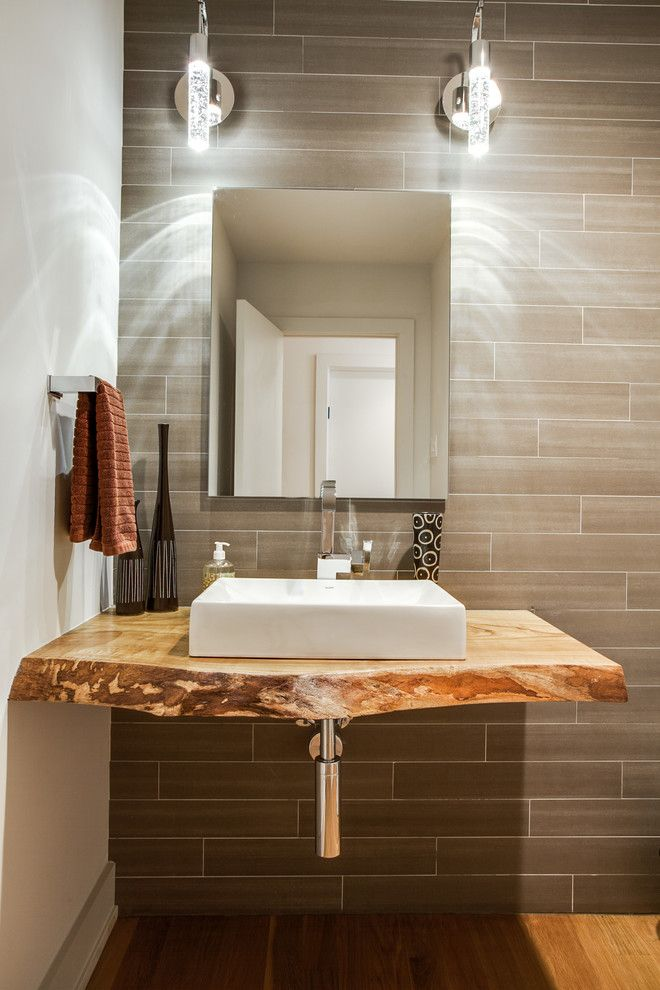 Charming Vanity Top Home Remodel Dallas Contemporary Exposed Plumbing  Live-edge Wood Counter Modern Powder