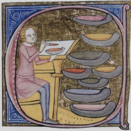 B5 making coloured inks, Omne Bonum British Library Royal 6 E. VI, f.329