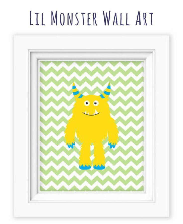 Printable Wall Art 8x10 Little Monster yellow wall art, Boy Wall art ...