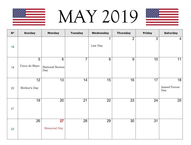 May 2019 USA Holidays Calendar Holiday calendar